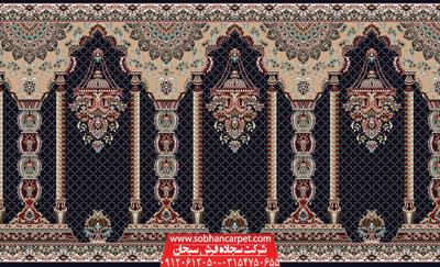 سجاده فرش محرابی مسجد طرح مناره - زمینه سرمه ای