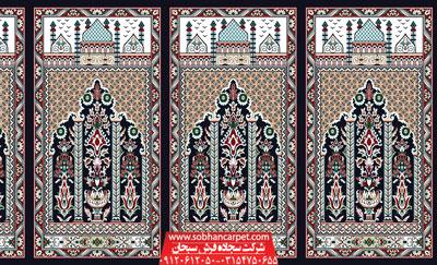فرش محرابی مسجد کاشان طرح عروج - زمینه سرمه ای