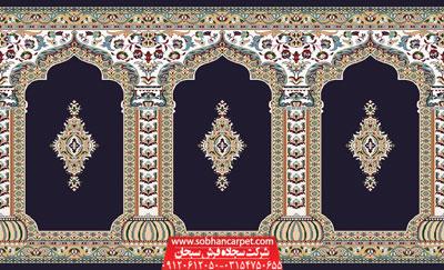 فرش سجاده ای مسجد طرح رضوان - زمینه سرمه ای