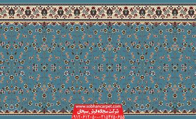 سجاده فرش کاشان برای حسینیه و نمازخانه طرح افشان - زمینه آبی