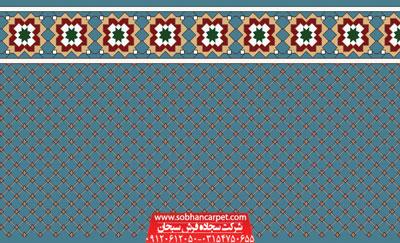 فرش تشریفاتی مسجد طرح فردوس - زمینه آبی