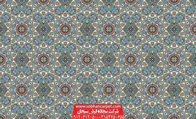 فرش سجاده ای تشریفاتی برای مسجد طرح خاتم - زمینه آبی فیروزه ای