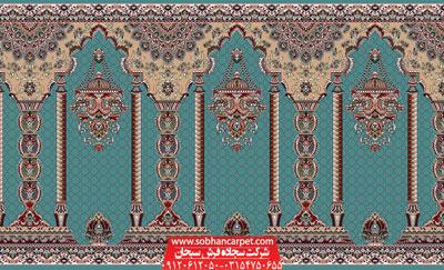 فرش سجاده مسجد محرابی طرح مناره - زمینه آبی فیروزه ای
