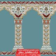 فرش محرابی مسجد طرح مولانا - زمینه آبی فیروزه ای