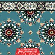سجاده فرش تشریفاتی مسجد کاشان طرح پردیس ترنچ - زمینه آبی