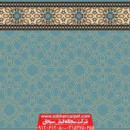 سجاده فرش بدون محراب برای نمازخانه طرح سماوات - زمینه آبی فیروزه ای