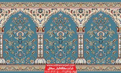 فرش مسجد محرابی کاشان طرح طاها - زمینه آبی