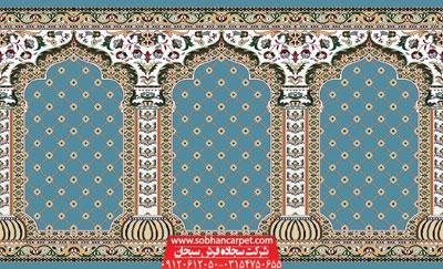فرش مسجد محرابی طرح بارگاه - زمینه سبز یشمی