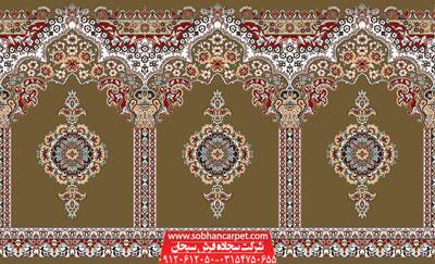 فرش محرابی کاشان برای مسجد طرح بارگاه - زمینه گردویی