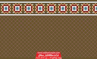 فرش مسجدی تشریفاتی طرح فردوس - زمینه گردویی