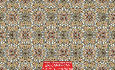 سجاده فرش تشریفاتی کاشان برای مسجد طرح خاتم - زمینه گردویی