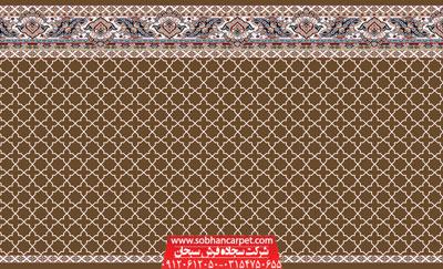 فرش سجاده تشریفاتی مسجد طرح مکی - زمینه گردویی