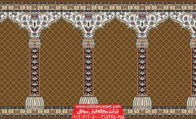 فرش مسجد محرابی طرح محراب - زمینه گردویی