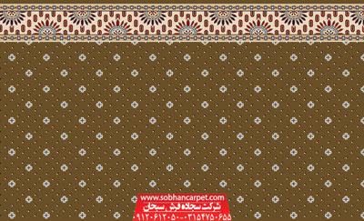 فرش سجاده تشریفاتی مسجد کاشان طرح نگین زمرد - زمینه گردویی