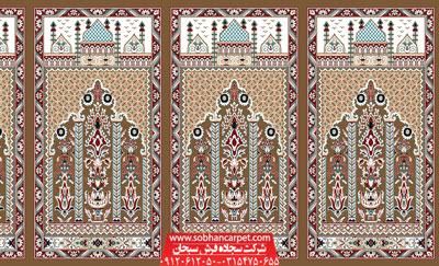 سجاده فرش محرابی برای مسجد طرح عروج - زمینه گردویی