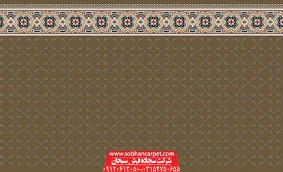 سجاده فرش مسجد تشریفاتی طرح شمسه 2 - زمینه گردویی