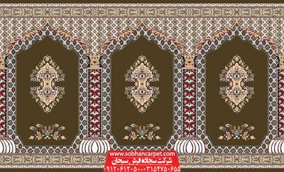 فرش مسجدی محرابی کاشان طرح سلطان - زمینه گردویی