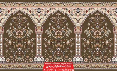 فرش مسجدی محرابی طرح طاها - زمینه گردویی