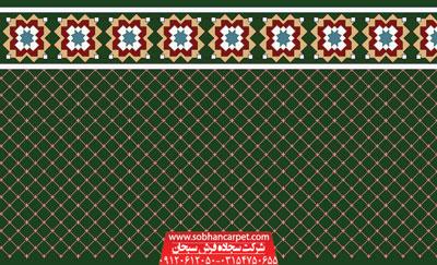 فرش بدون محراب مسجد طرح فردوس - زمینه سبز یشمی