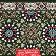 فرش مسجد تشریفاتی کاشان طرح کاشی کاری - زمینه سبز یشمی