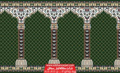 فرش مسجدی کاشان طرح محراب - زمینه سبز یشمی