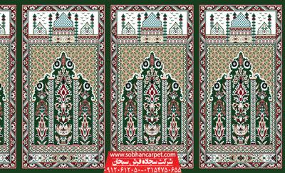 فرش محرابی برای مسجد و نمازخانه طرح عروج - زمینه سبز یشمی