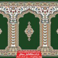 فرش محرابی برای مصلی و نمازخانه طرح رضوان - زمینه سبز