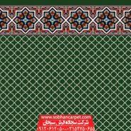 فرش سجاده ای بدون محراب طرح شمسه 1 - زمینه سبز