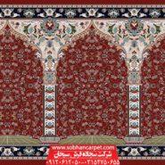 فرش سجاده محرابی برای مصلی - زمینه قرمز روناسی