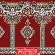 فرش محرابی برای مسجد طرح بارگاه - زمینه قرمز روناسی