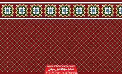 فرش سجاده ای تشریفاتی مسجد طرح فردوس - زمینه روناسی