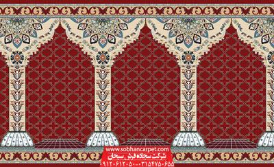 سجاده فرش محرابی طرح جنات - زمینه قرمز روناسی