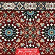 فرش مسجدی تشریفاتی طرح کاشی کاری - زمینه قرمز روناسی