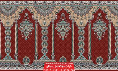 فرش سجاده ای محرابی طرح مناره - زمینه قرمز روناسی