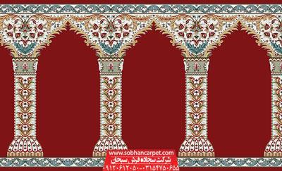 فرش سجاده محرابی کاشان طرح مولانا - زمینه قرمز روناسی