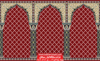فرش سجاده محرابی طرح مناجات - زمینه قرمز روناسی