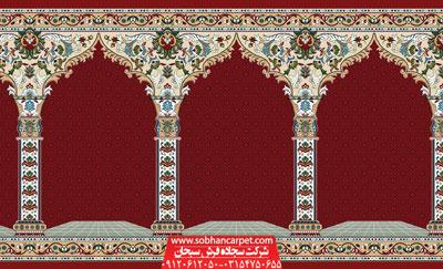 فرش مسجدی کاشان طرح نسترن - زمینه روناسی