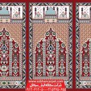 فرش محرابی برای مسجد طرح عروج - زمینه قرمز روناسی