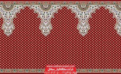 فرش محرابی کاشان طرح ثامن - زمینه قرمز روناسی