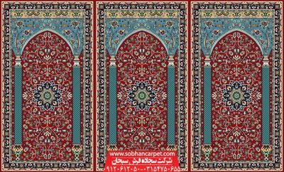سجاده فرش محرابی مسجد طرح ستاره کویر - زمینه قرمز روناسی