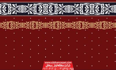 سجاده فرش تشریفاتی مسجد طرح ستاره - زمینه قرمز روناسی