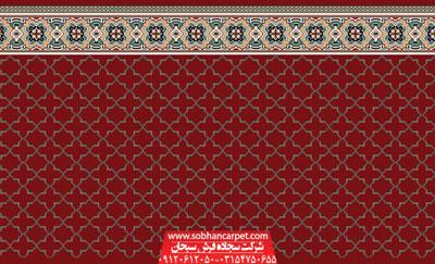 فرش سجاده ای بدون محراب مسجد طرح شمسه 2 - زمینه قرمز روناسی