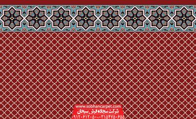 سجاده فرش تشریفاتی کاشان طرح شمسه 1 - زمینه قرمز