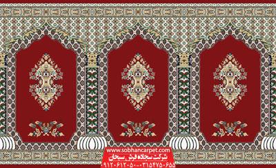 سجاده فرش مسجدی کاشان طرح سلطان - زمینه قرمز روناسی