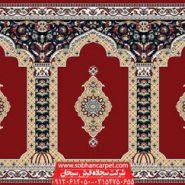 فرش سجاده محرابی مسجد طرح ثریا - زمینه روناسی