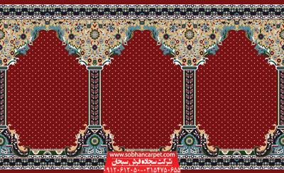 فرش محرابی کاشان طرح طوبی - زمینه قرمز روناسی