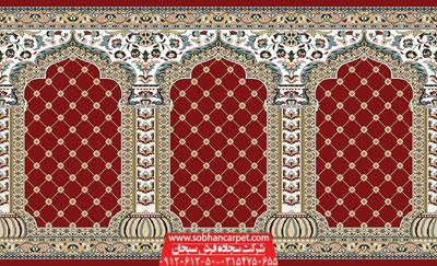 فرش سجاده ای کاشان طرح یاسین - زمینه روناسی