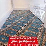 سجاده فرش محرابی طرح رضوان آبی
