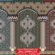 طرح زیبای فرش مسجد بیجار در رنگهای متنوع