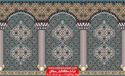 طرح زیبای فرش سجاده آبی بیجار